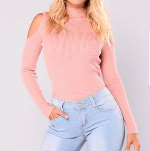 Mauve Open Cold Shoulder Sweater